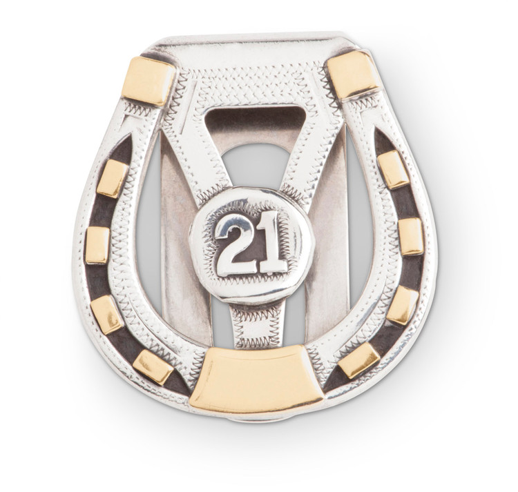 "Sterling Silver & Gold Horseshoe ""21 Club"" Money Clip"