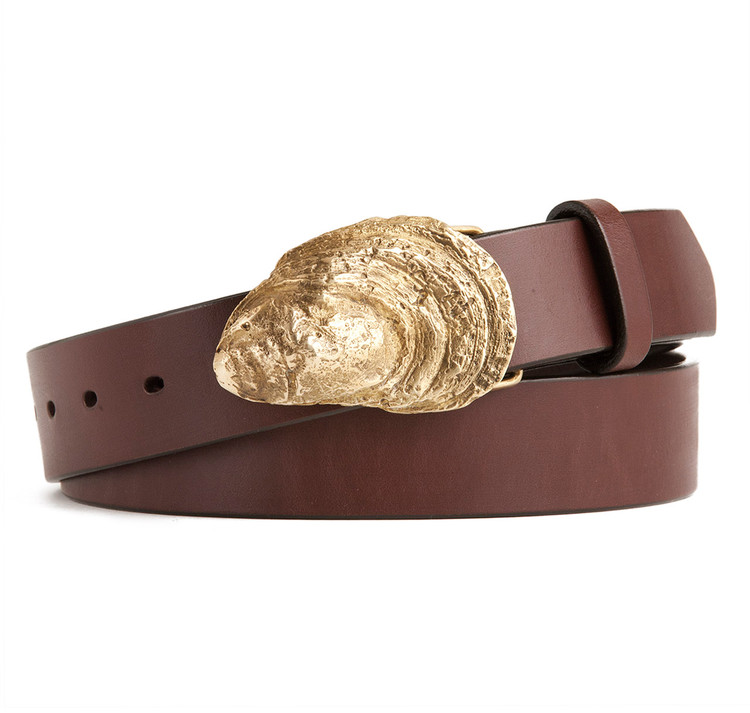 Oyster Shell Buckle with Brown Leather Belt