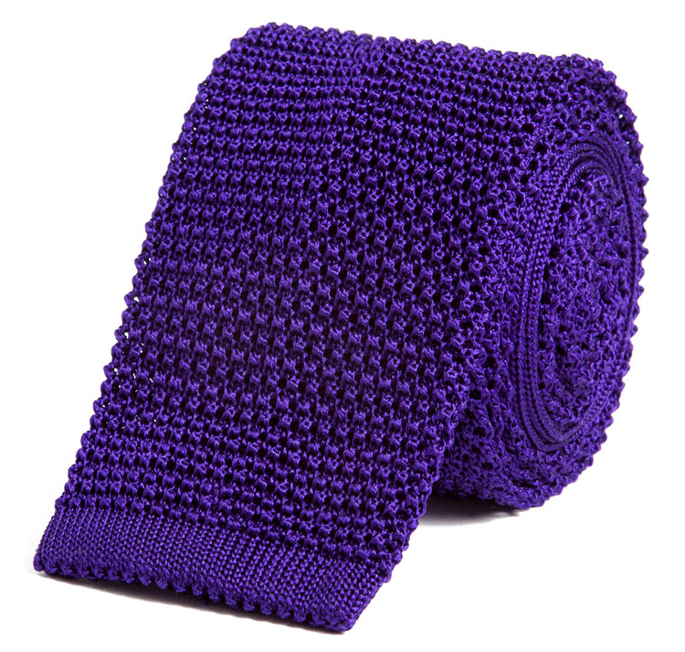 Classic Knit Silk Tie in Violet Purple