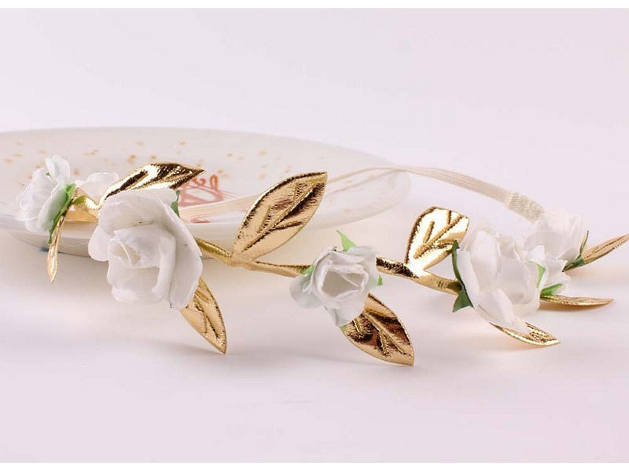 Soft Flowers And Leaves Hair Garland White And Gold Two Little