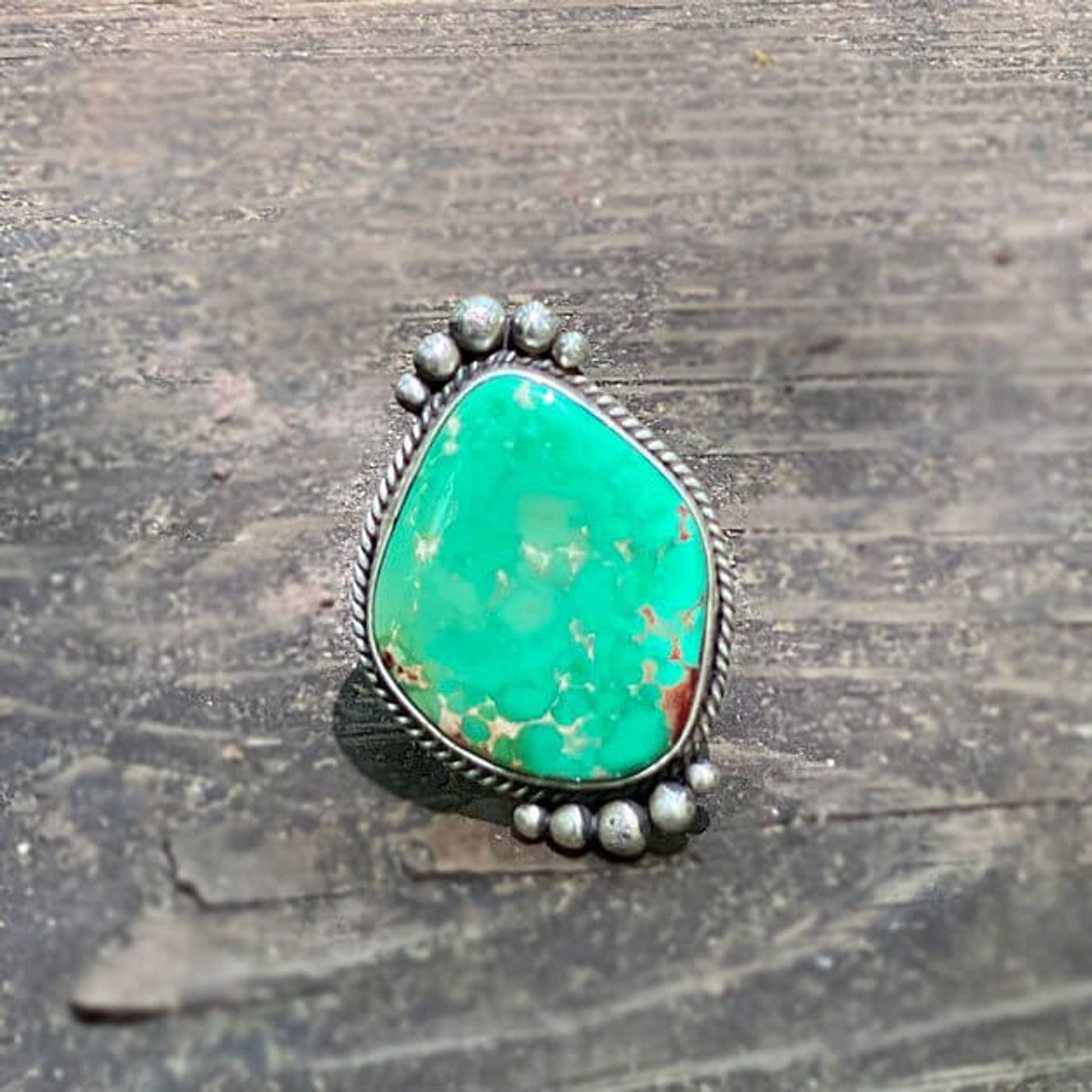 Royston Turquoise Navanjo Sterling Silver Ring Size 6