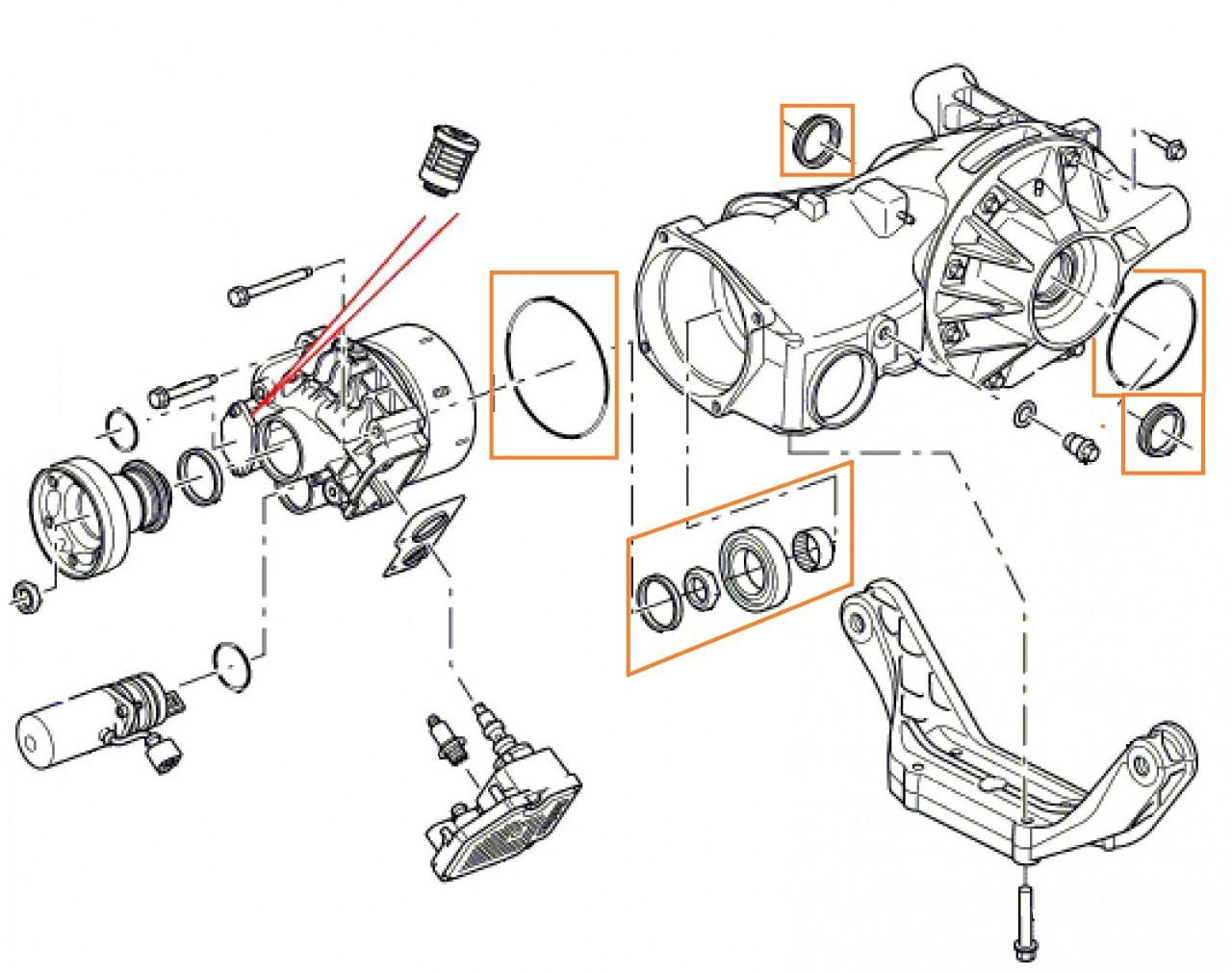 LR2 Rear Pinion Bearing and Seal Kit