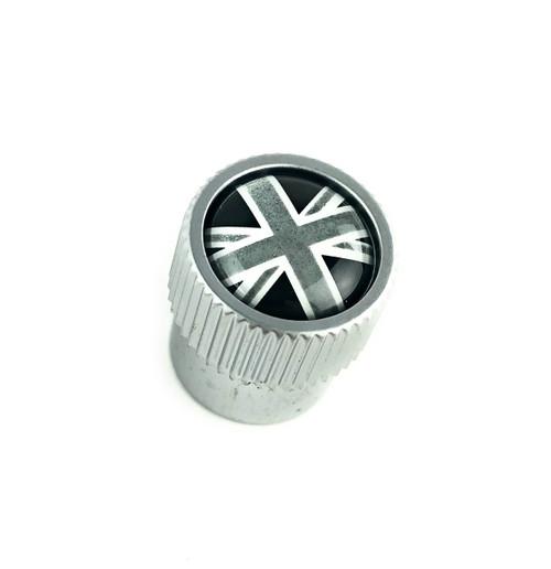 Black + Silver Union Jack Valve Stem Caps - LR027666