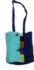 Shoulder bag with stripe and Poms Blue Colors