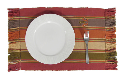 Place mat with Embroidery Earth Colors T48