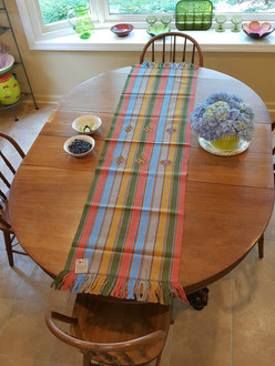 Large Table Runner Earth Colors with Embroidery - T03