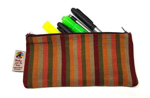 Large pencil bag with pens and pencils.