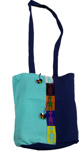 Shoulder bag with stripe and Poms Blue Colors