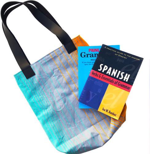 Shoulder bag with leather handles - medium