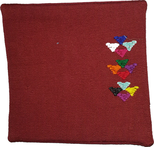 Coaster (Blue and burgundy with embroidery)