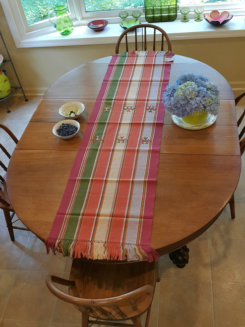 Large Table Runner Green Burgundy Gold (T48) with Embroidery