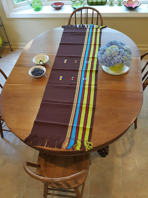 Large Table Runner Brown (T57) with Embroidery
