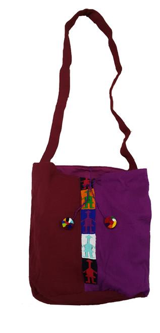 Shoulder bag with stripe and Poms