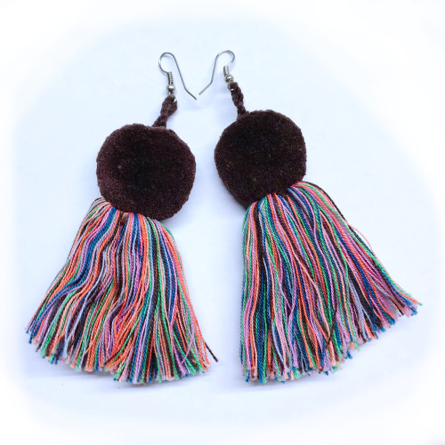 Brown pop with tassels earring