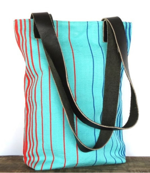 Shoulder bag with leather handles - small