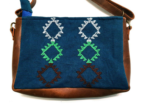Cross Body Handbag with Leather Sides