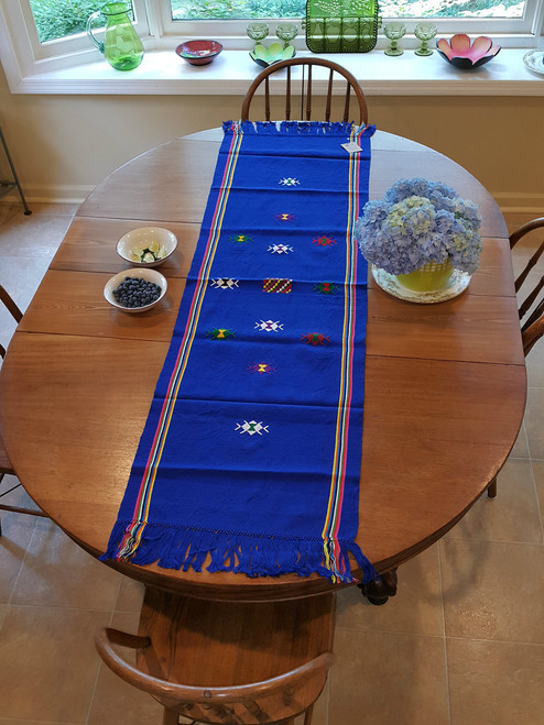 Large Table Runner Navy with Embroidery