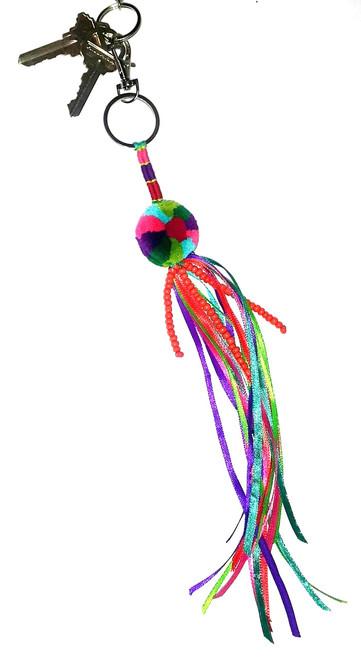 Multicolor Pompom Key Ring / Purse Charm / Ornament