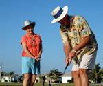 Older Couple Golfing Healthy Bladder Style