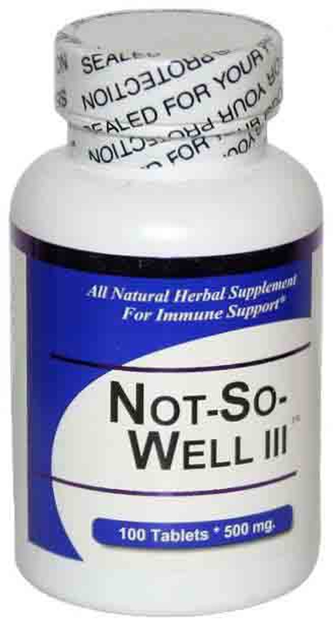 Not So Well III Bottle Image. Virus Free Herbal Health Support. Get Well Natural