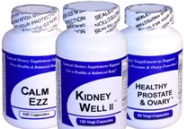 Get Well Natural Herbal Supplements Bottles Image Calm Ezz Kidney Well II and Healthy Prostate and Ovary