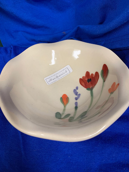 Pottery - 5-1/2 Inch Bowl with Scalloped Edging - Poppy