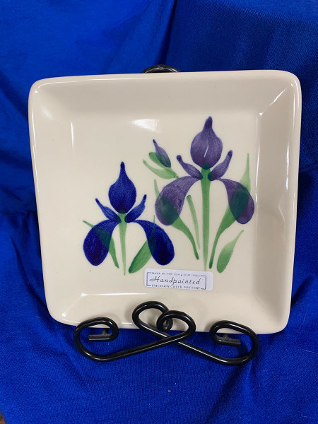 Pottery - 6-Inch Square Plate - Blue Iris