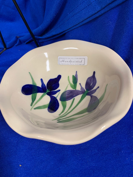 Pottery - 5-1/2 Inch Bowl with Scalloped Edging - Blue Iris