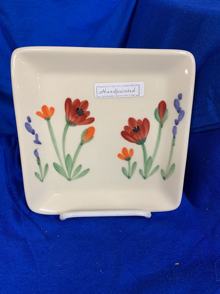 Pottery - 6-Inch Square Plate - Poppy