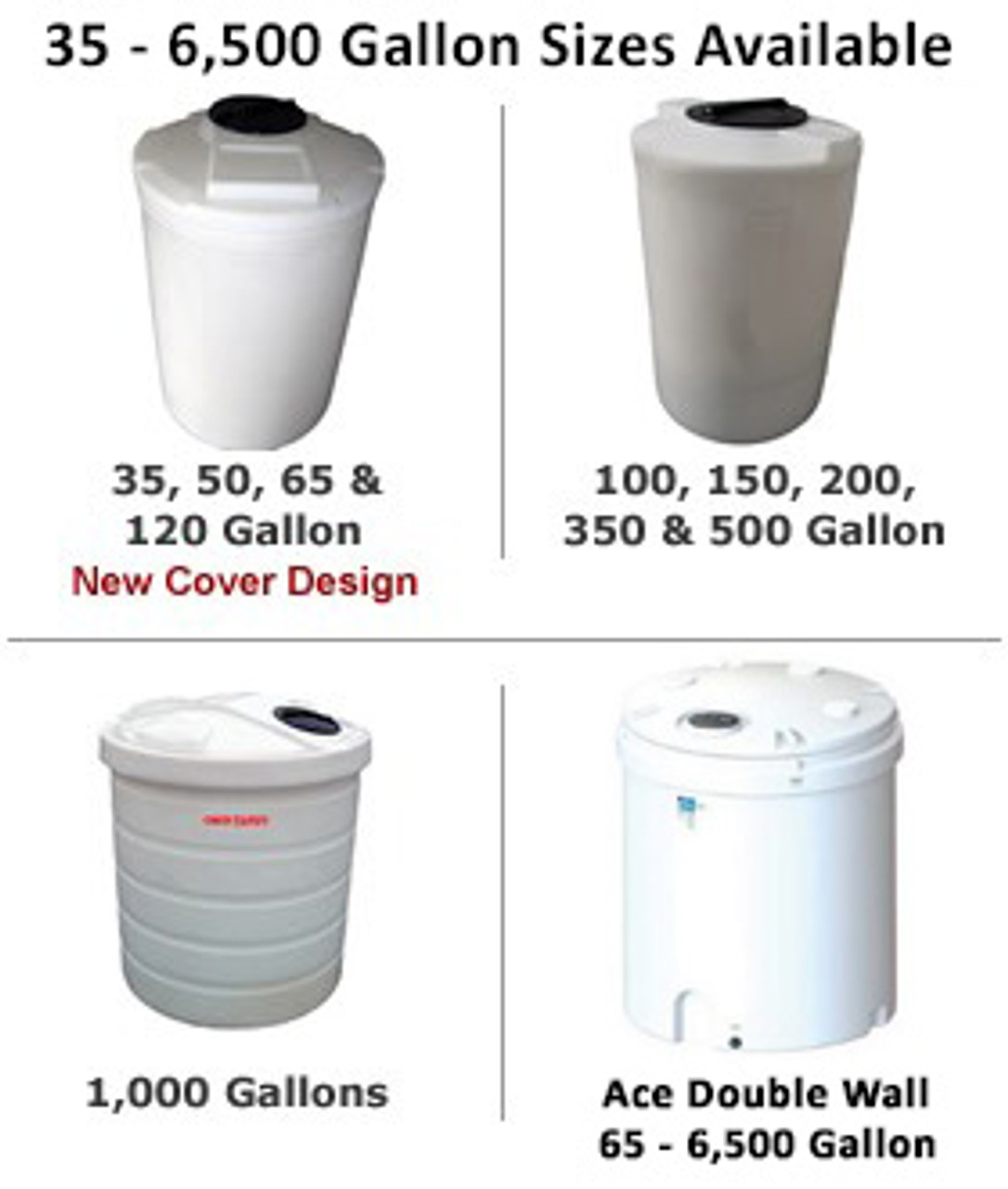 Polyethylene 35 Gallon Chemical /& Solution Tank