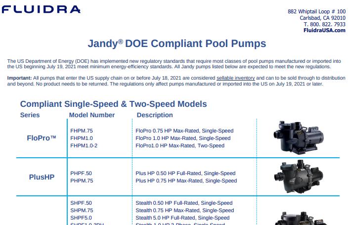Fluidra DOE Compliant and NonCompliant Pump Guide