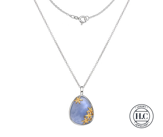 Silver Blue Chalcedony Pendant 9ct Gold Floral Detail & Chain