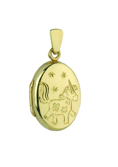 9ct Gold Unicorn Locket