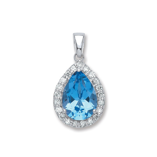 Diamond and blue topaz pear drop pendant