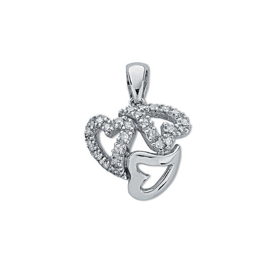 9ct White Gold 0.13ct Diamond Entwined Heart Trilogy Pendant