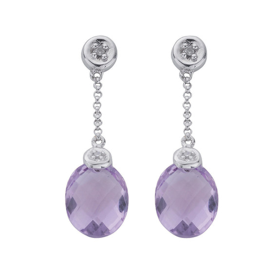9ct White Gold Diamond & Amethyst Drop Earrings