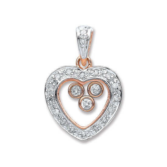 9ct Rose Gold 0.15ct Floating Diamond Heart Pendant