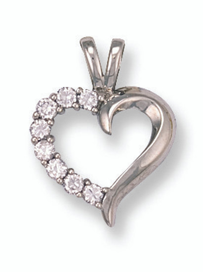 9ct White Gold with CZ heart