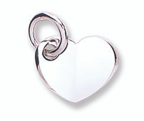 9ct white gold solid heart pendant