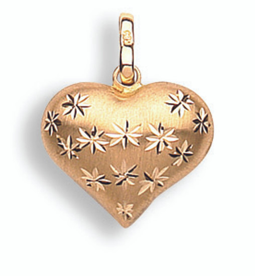 9ct Yellow Gold Heart with Cut Flower Detail