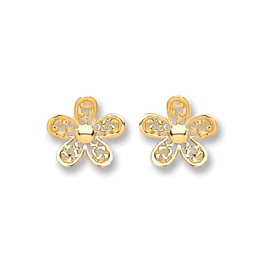 9ct Yellow Gold Filigree Daisy Stud Earrings