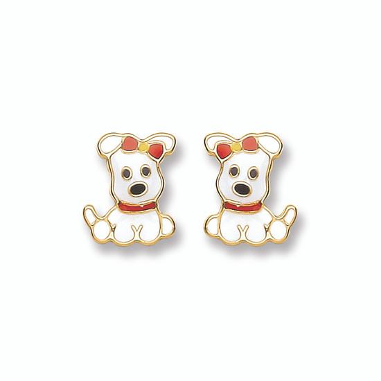 9ct Yellow Gold & Enamel Girl Puppy Stud Earrings