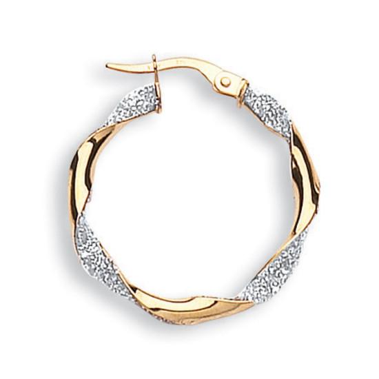 9ct Yellow Gold Sparkle Round Twist Hoop Earings 25MM - Premium Italian Design