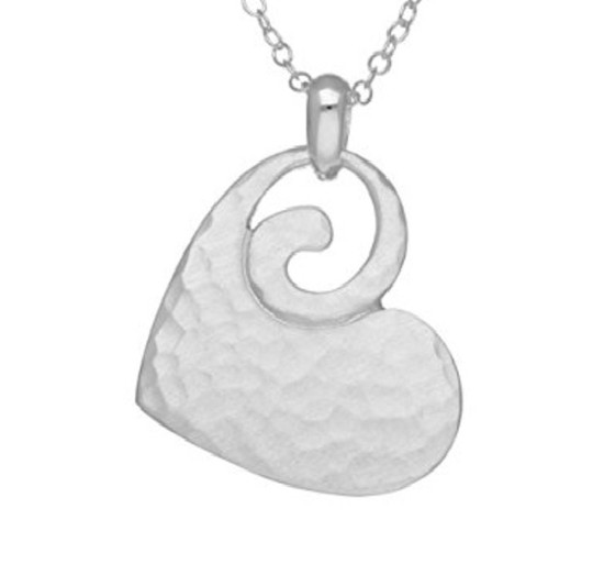 Ortak Pirouette Hammered Heart Pendant - Sterling Silver - p833