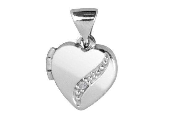 Sterling Silver small Heart Locket with Diamond inset