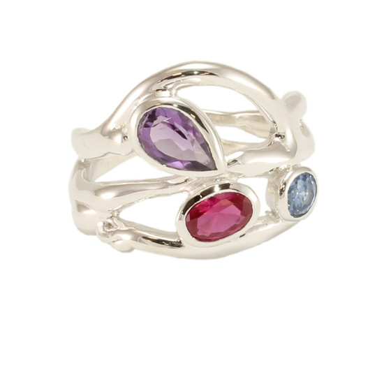 Multistone ring, amethyst, topaz, cz ruby