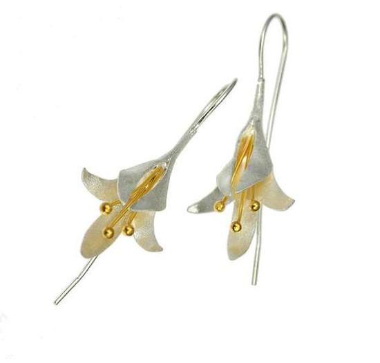 Silver Fuschia flower earrings -Christin Ranger
