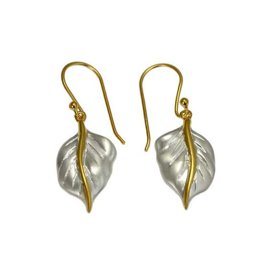 Silver Golden Leaf earrings -Christin Ranger