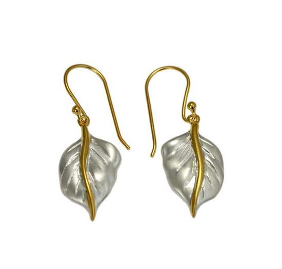 Silver Golden Leaf earrings -Christin Ranger