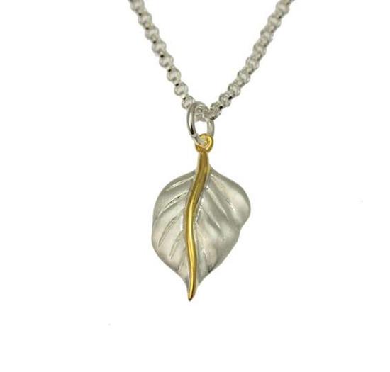 Silver Golden Leaf Pendant -Christin Ranger